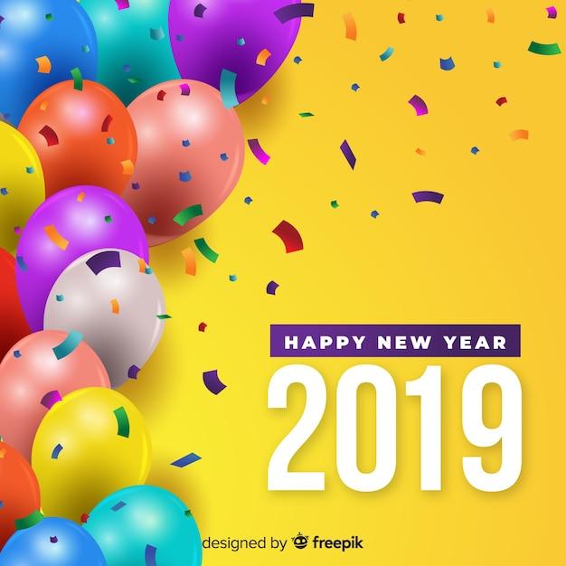 Nieuwe jaar kleurrijke ballonnen achtergrond Gratis Vector