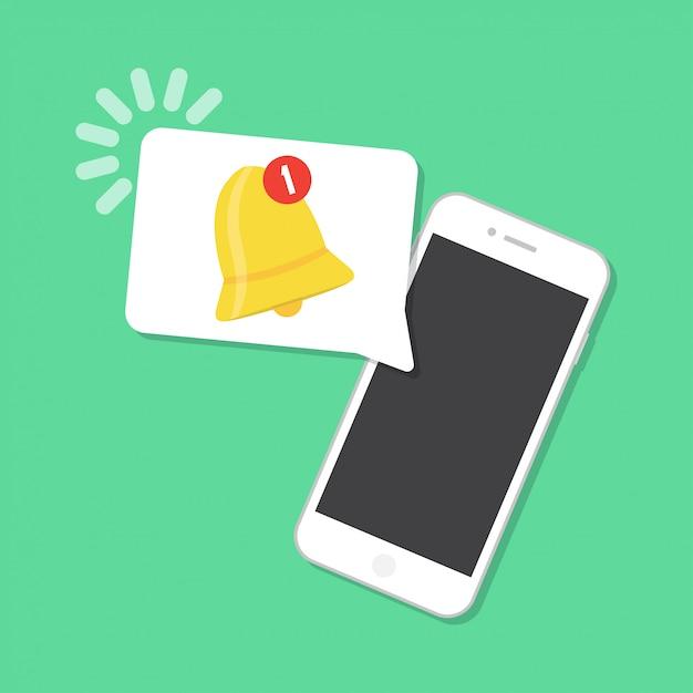 Nieuwe melding op de smartphone. notificatie concept Premium Vector