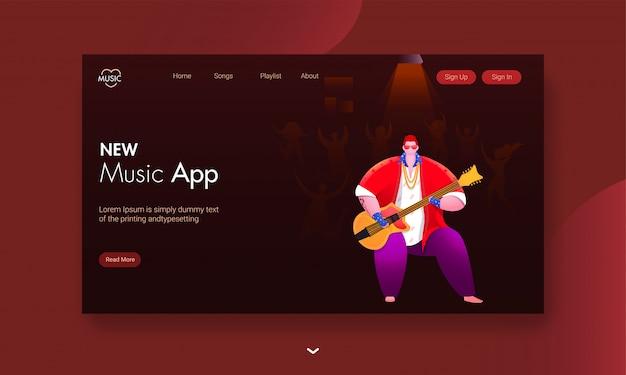 Nieuwe muziekapp bestemmingspagina met illustratie van man gitaarspelen met mensen die dansen op bruin. Premium Vector
