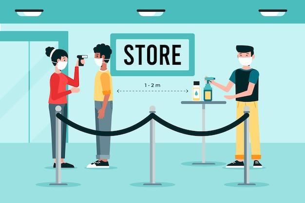 Nieuwe normaal bij de ingang van winkels Gratis Vector