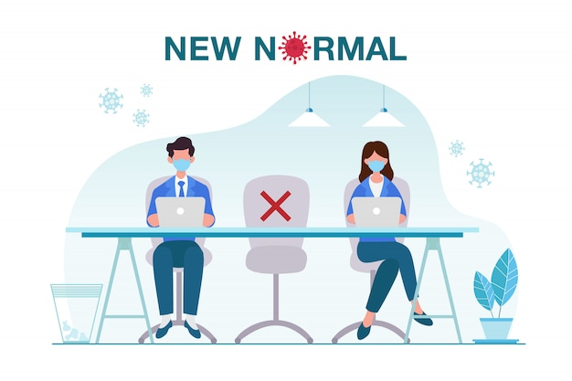 Nieuwe normale concept illustratie met kantoormensen houden afstand van elkaar en werken met gezichtsmaskerpreventie bij het uitbreken van een ziekte. nieuw normaal na covid-19 pandemisch concept Premium Vector