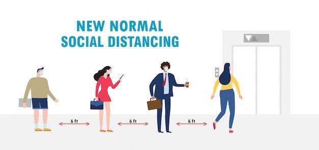 Nieuwe normale levensstijl sociaal afstandsconcept met zakenmensen die medische maskers dragen Premium Vector