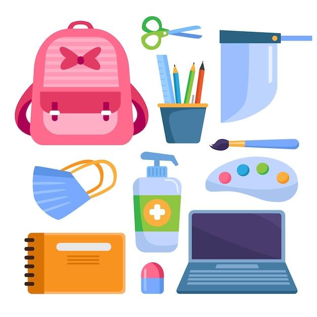Nieuwe normale schoolbenodigdheden Gratis Vector