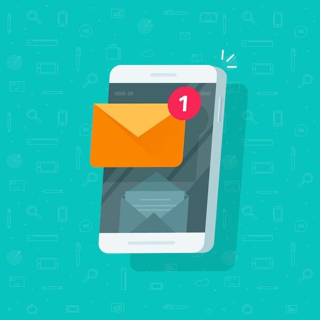 Nieuwe ongelezen e-mail notificatie bericht inbox op mobiele telefoon of mobiele telefoon illustratie platte cartoon Premium Vector