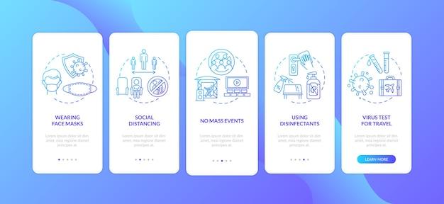 Nieuwe openbare regels voor onboarding van het paginascherm van mobiele apps met concepten Premium Vector