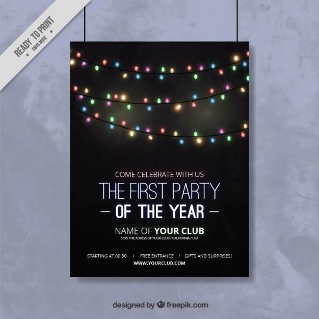 Nieuwe poster jaar feest met lichtslingers Gratis Vector