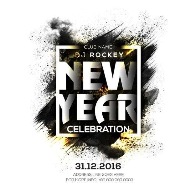 Nieuwe poster jaar feest met zwarte vlek en gouden details Premium Vector