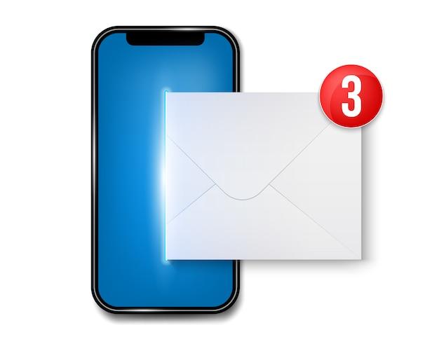 Nieuwe sms of e-mail notificatie op mobiele telefoon. Premium Vector