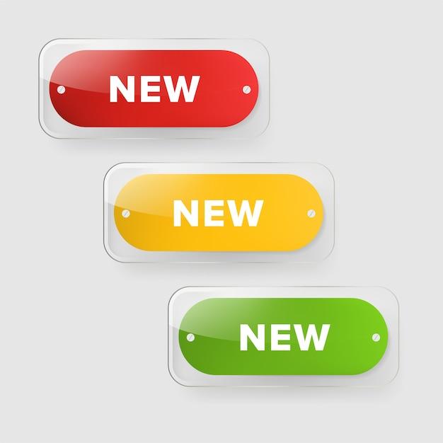 Nieuwe tagbanner en glanzende badges ontwerpen. Premium Vector
