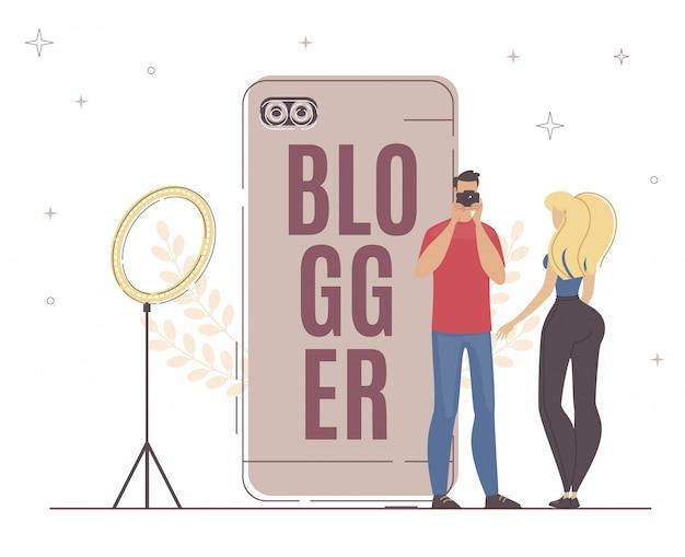 Nieuwe video blogger opnemen belangrijk proces. Premium Vector