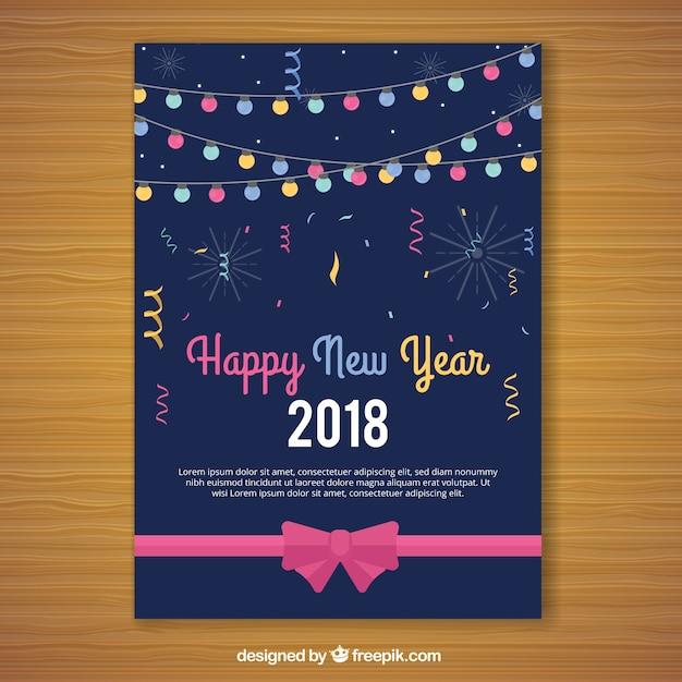 Nieuwjaar 2018 kaarten met lichtslingers Gratis Vector
