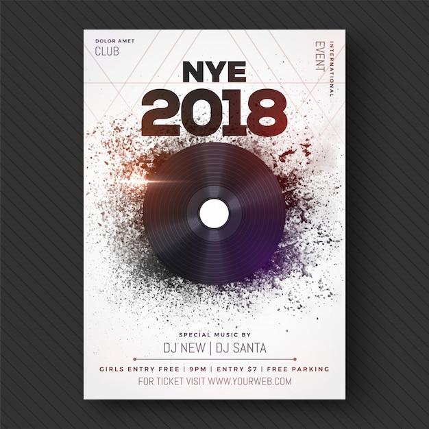 Nieuwjaar 2018 musical party, banner, poster of flyer design. Premium Vector