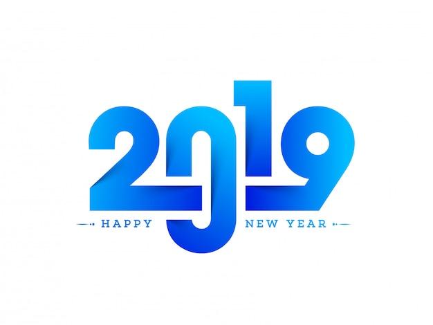 Nieuwjaar 2019 achtergrond. Premium Vector