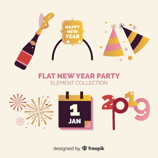 Nieuwjaar 2019-decoratieset Gratis Vector