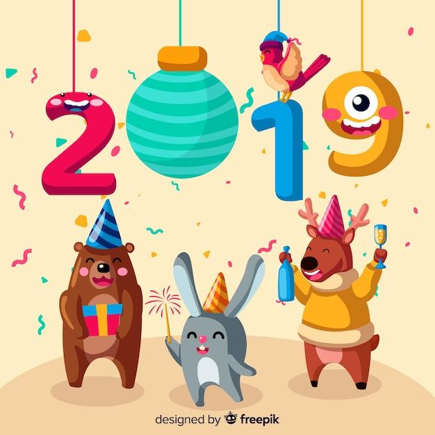 Nieuwjaar 2019 dieren achtergrond Gratis Vector