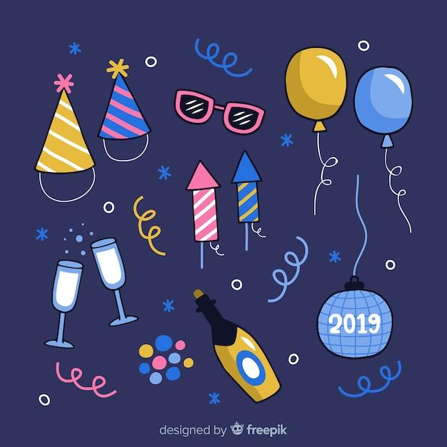 Nieuwjaar 2019 partij elementen instellen Gratis Vector