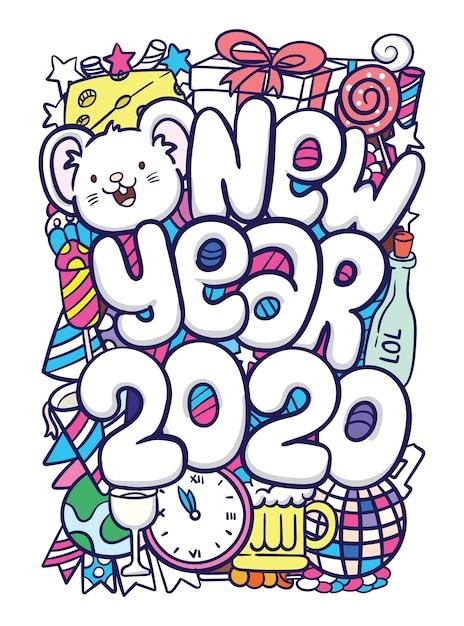 Nieuwjaar 2020 hand getrokken doodle kunst Premium Vector