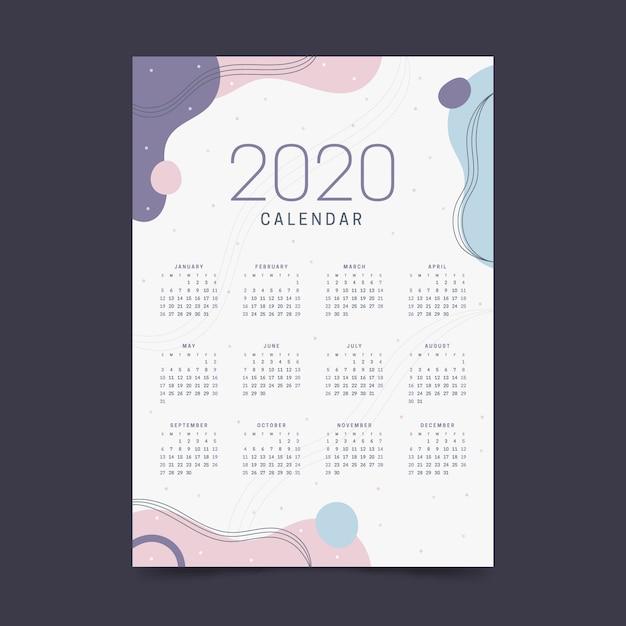 Nieuwjaar 2020 kalender pastel kleuren Gratis Vector