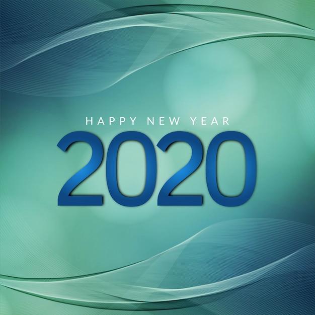Nieuwjaar 2020 moderne golvende groene achtergrond Gratis Vector
