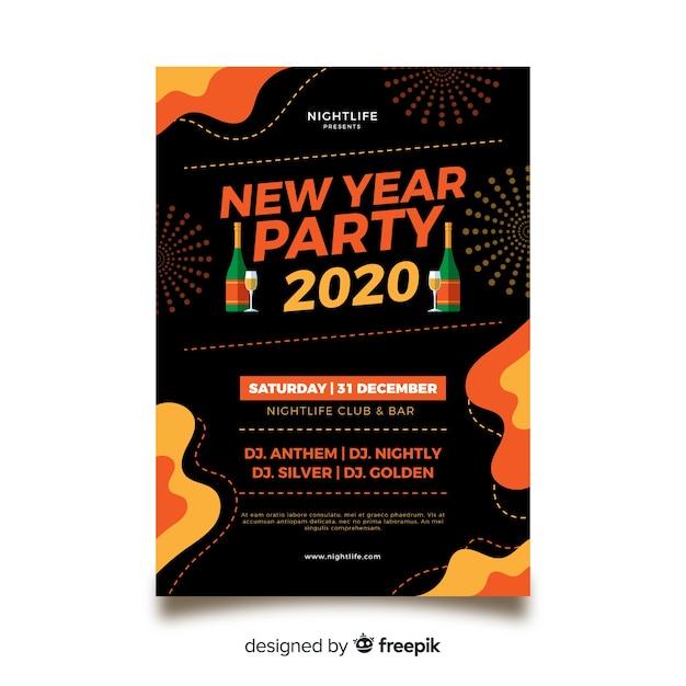Nieuwjaar 2020 partij poster sjabloon in plat ontwerp Gratis Vector