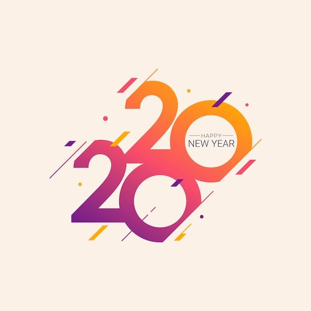 Nieuwjaar 2020 vector illustratie wenskaart Premium Vector