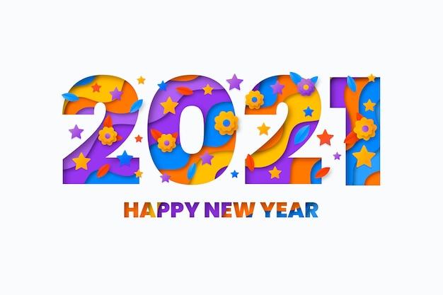 Nieuwjaar 2021 achtergrond in papieren stijl Gratis Vector