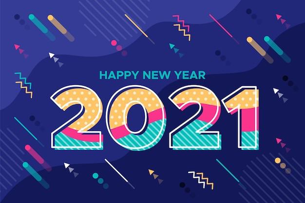 Nieuwjaar 2021 achtergrond in plat ontwerp Gratis Vector
