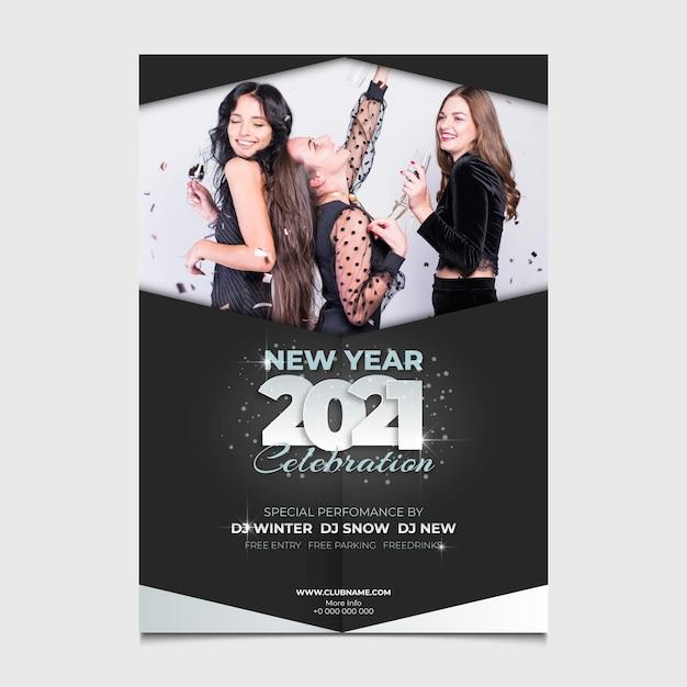 Nieuwjaar 2021-feestaffiche Premium Vector