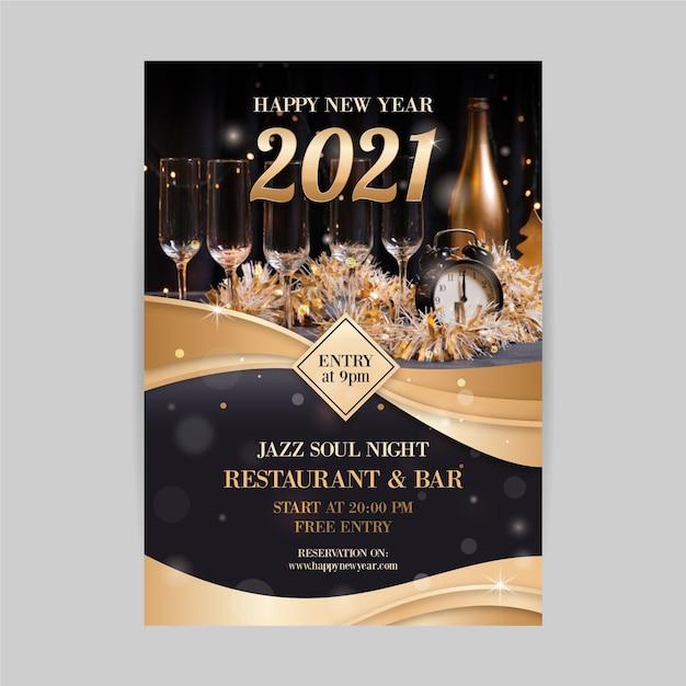 Nieuwjaar 2021 partij flyer gouden arrangement Premium Vector