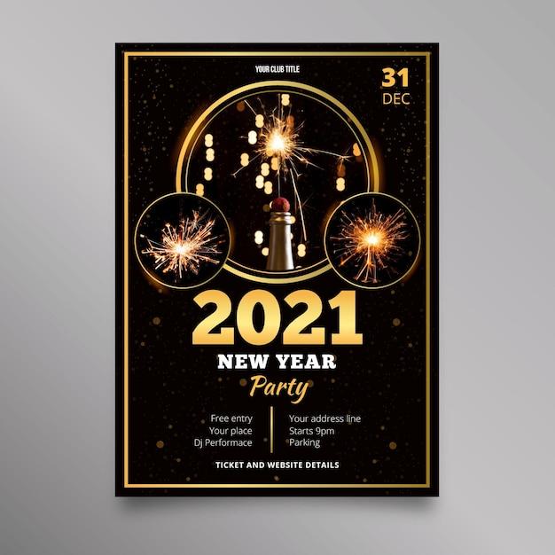 Nieuwjaar 2021 partij flyer-sjabloon Gratis Vector