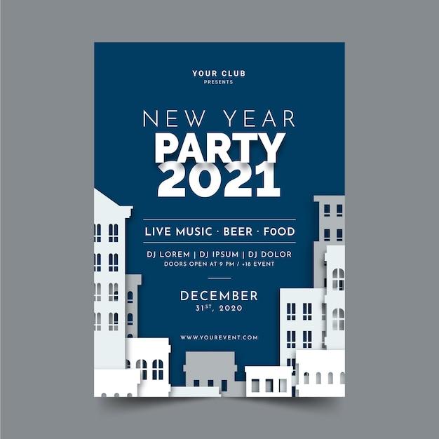Nieuwjaar 2021 partij folder sjabloon in plat ontwerp Gratis Vector