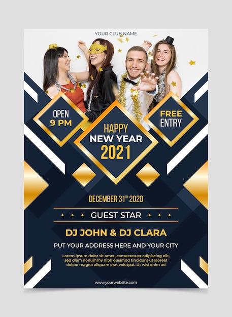 Nieuwjaar 2021 partij folder sjabloon met foto Premium Vector