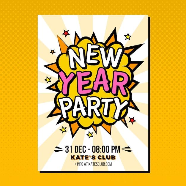Nieuwjaar 2021 partij poster sjabloon in plat ontwerp Gratis Vector
