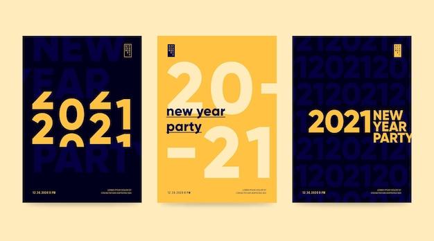Nieuwjaar 2021 partij poster sjabloon Premium Vector