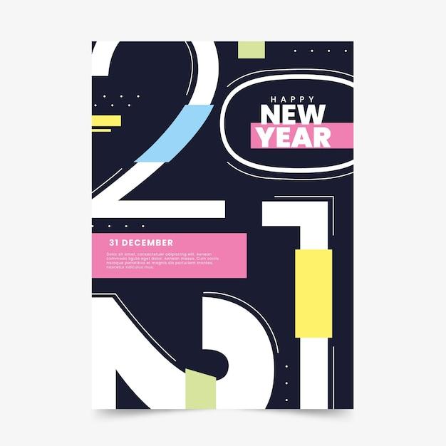 Nieuwjaar 2021 partij poster sjabloon Gratis Vector