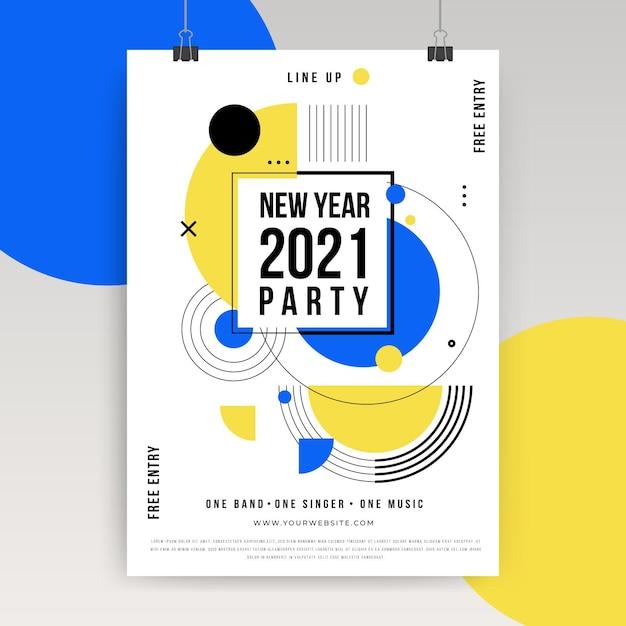 Nieuwjaar 2021 poster concept Gratis Vector
