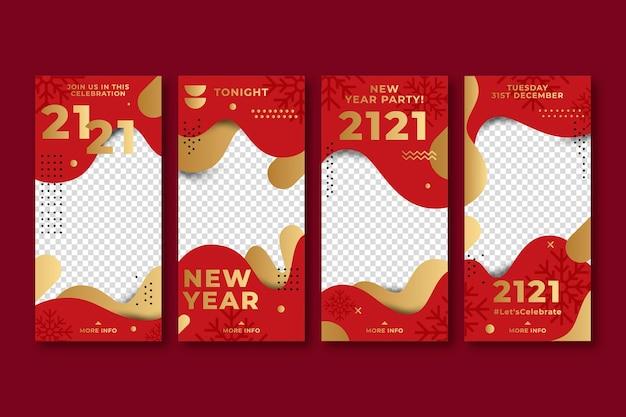 Nieuwjaar 2021 rode en gouden instagramverhalen Gratis Vector