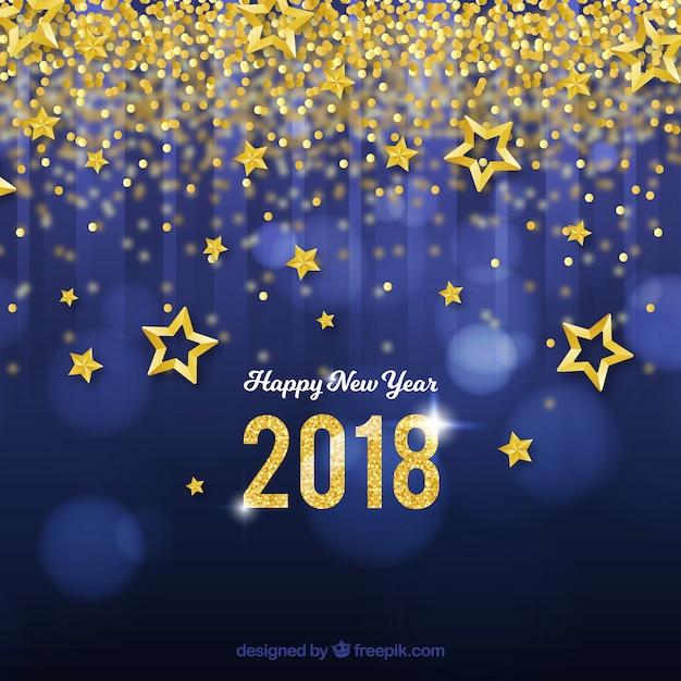 Nieuwjaar achtergrond met gouden sterren en confetti Gratis Vector