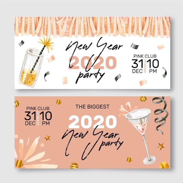 Nieuwjaar aquarel partij banners Gratis Vector