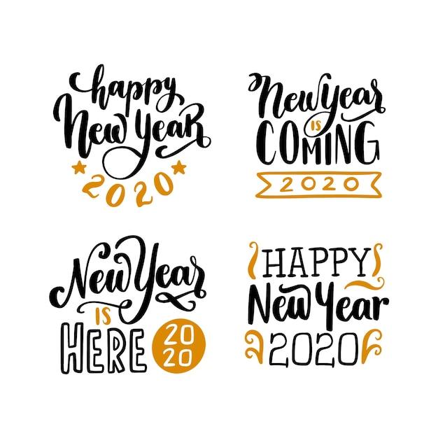 Nieuwjaar belettering collectie Gratis Vector