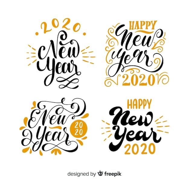 Nieuwjaar belettering pack Gratis Vector