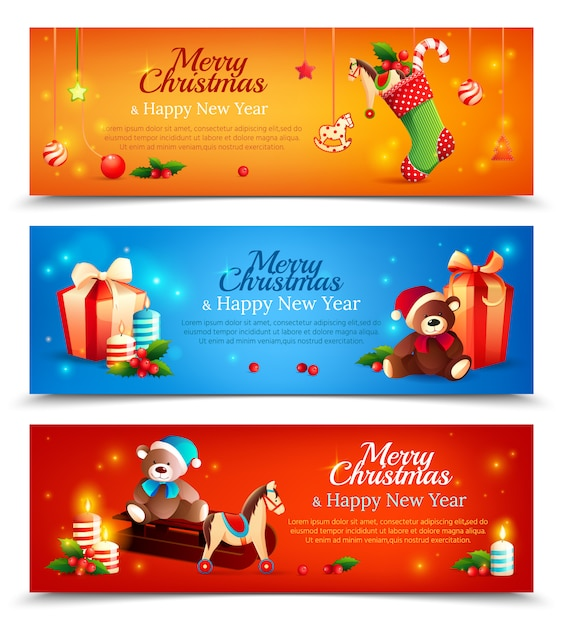 Nieuwjaar cartoon horizontale banner set Gratis Vector