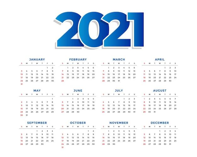 Nieuwjaar eenvoudige kalendersjabloon Gratis Vector