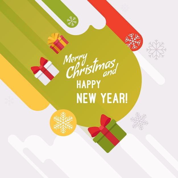 Nieuwjaar en kerstkaartsjabloon Premium Vector