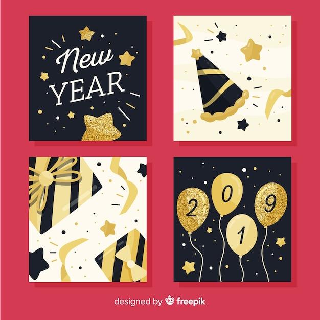 Nieuwjaar glitter details kaarten pack Gratis Vector