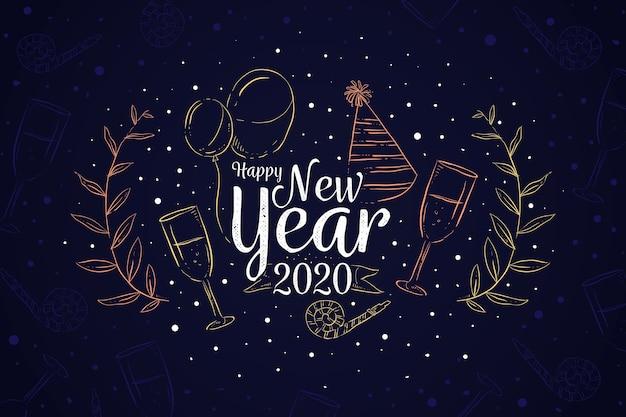 Nieuwjaar handgetekende achtergrond Gratis Vector