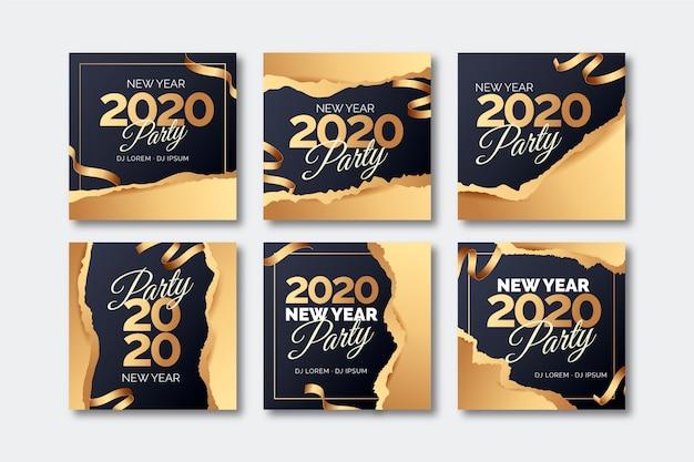 Nieuwjaar instagram postcollectie 2020 Gratis Vector