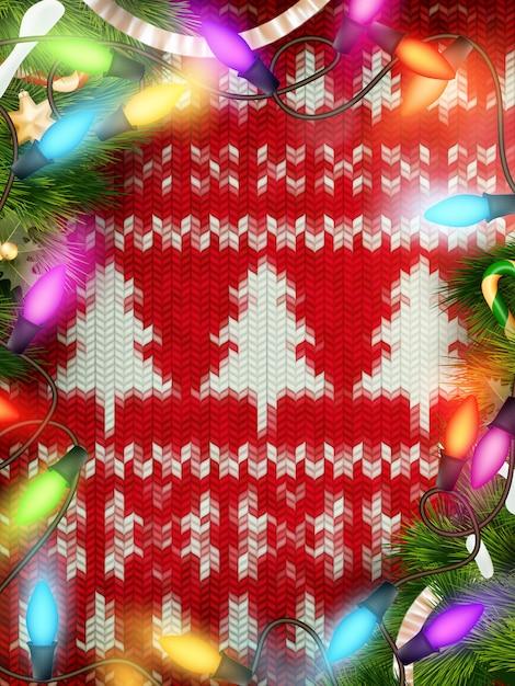 Nieuwjaar kerstdecoratie. kerstmismalplaatje tegen gebreide achtergrond. illustratie voor nieuwjaarsdag, kerstmis, wintervakantie, oudejaarsavond, silvester, etc. bestand inbegrepen Premium Vector