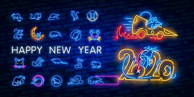 Nieuwjaar neonreclame. stuk kaas met tweeduizendentwintig nummers en rat op bakstenen achtergrond. vectorillustratie in neonstijl voor kerstmisbanners Premium Vector