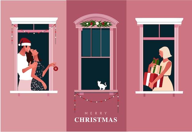 Nieuwjaar of kerstviering. lockdown. leven in quarantaine plaatsen. raamkozijnen met feestende buren. kleurrijke illustratie in moderne vlakke stijl. Premium Vector